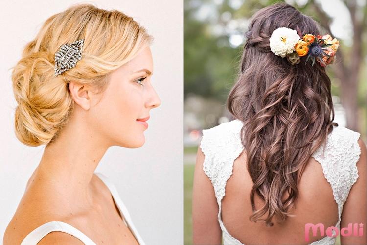Брошь и цветы в волосах